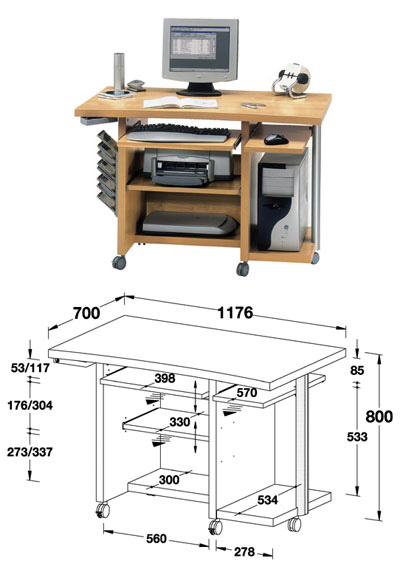 Мобильный стол для компьютера чертежи